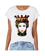 T-shirt donna, Testa di moro Colori di Sicilia, manica spalla larga