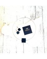 Completo Girocollo ciondolo quadrato ed orecchini #nerolavadelletna