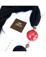 Collana stoffa nera e sfera in ceramica