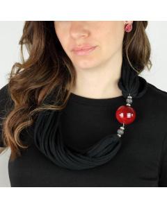 Collana multifilo nera e sfera ceramica