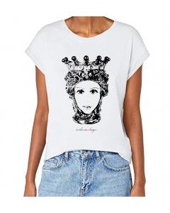 T-shirt donna, Testa di Moro B/N, manica spalla larga con risvoltino