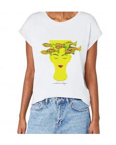 T-shirt donna, 'Pensatrice' manica spalla larga con risvoltino