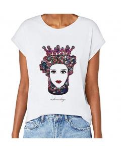 T-shirt donna, Testa di Moro multicolor, manica spalla larga con risvoltino