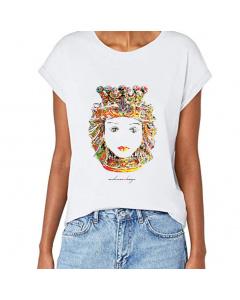 T-shirt donna, Testa di Moro Colorata, manica spalla larga con risvoltino